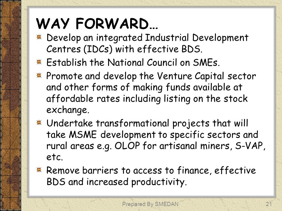 WAY FORWARD… Develop an integrated Industrial Development Centres (IDCs) with effective BDS. Establish the National Council on SMEs.