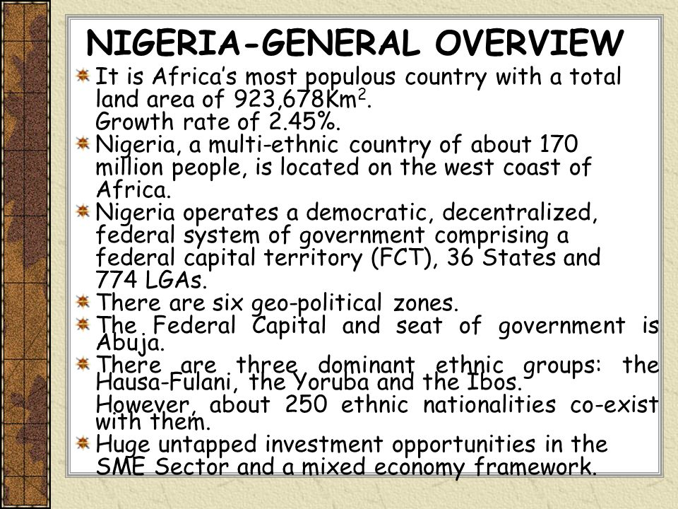 NIGERIA-GENERAL OVERVIEW