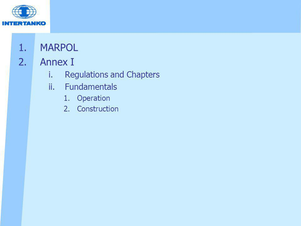 MARPOL Annex I Regulations and Chapters Fundamentals Operation