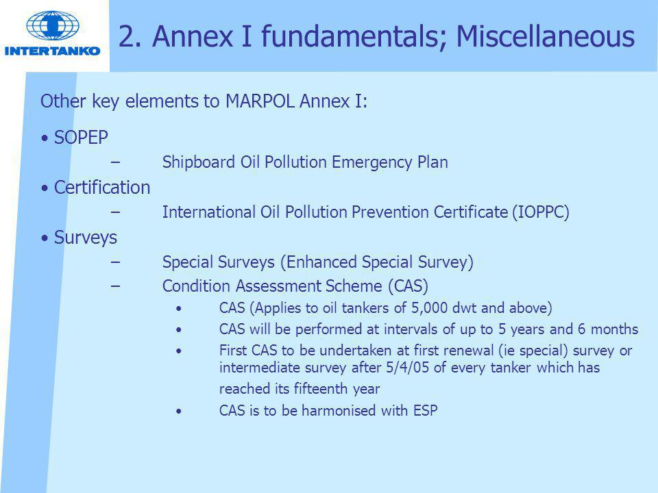 2. Annex I fundamentals; Miscellaneous