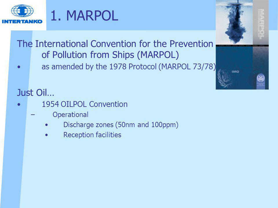 1. MARPOL The International Convention for the Prevention of Pollution from Ships (MARPOL) as amended by the 1978 Protocol (MARPOL 73/78)