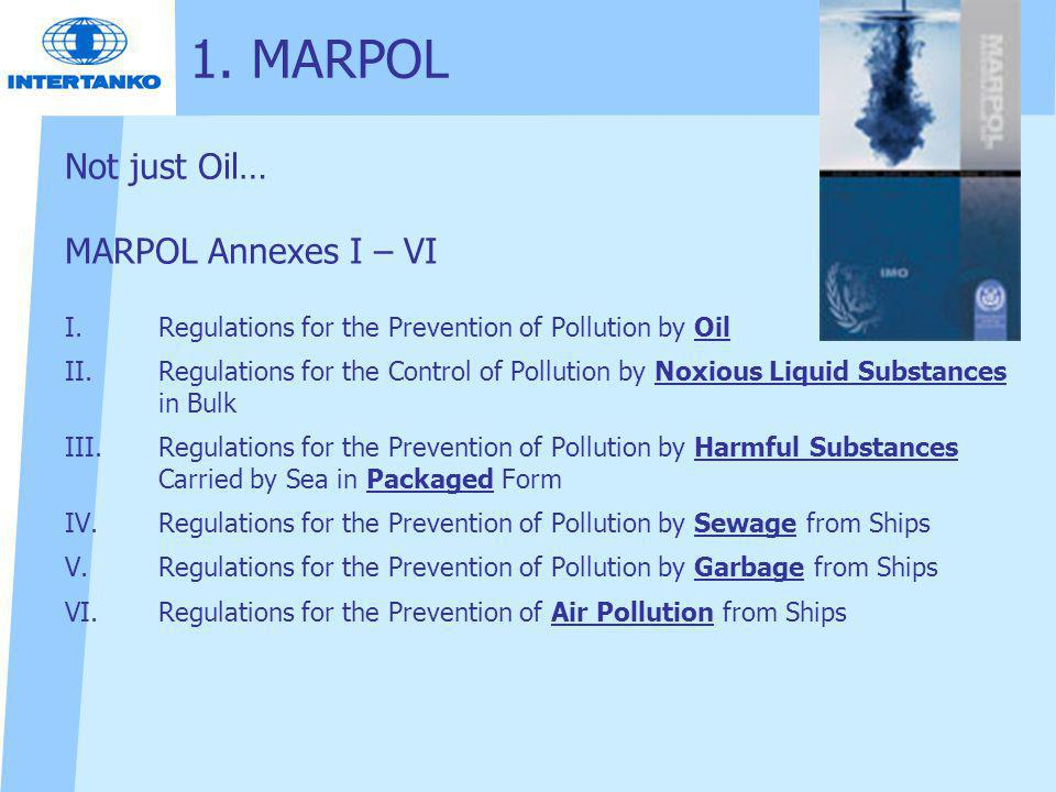 1. MARPOL Not just Oil… MARPOL Annexes I – VI
