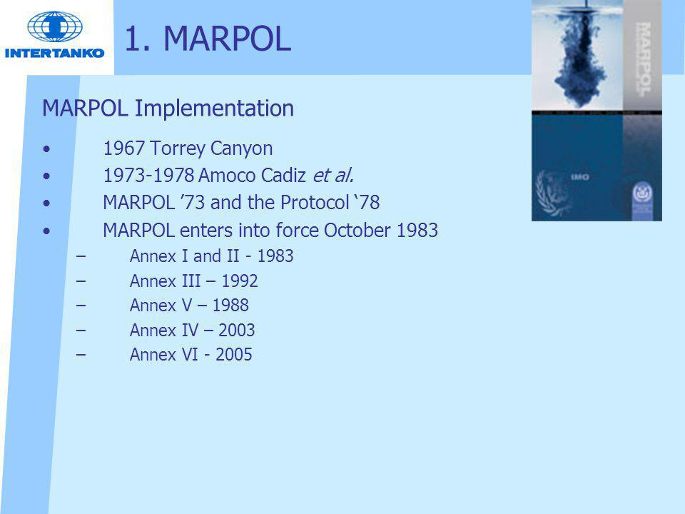 1. MARPOL MARPOL Implementation 1967 Torrey Canyon
