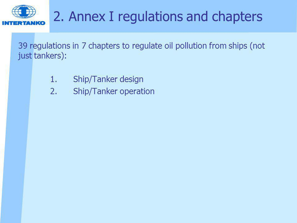 2. Annex I regulations and chapters