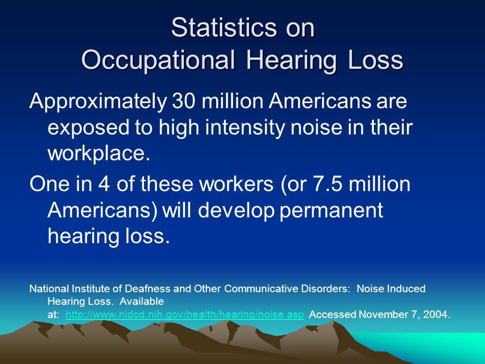 Statistics on Occupational Hearing Loss