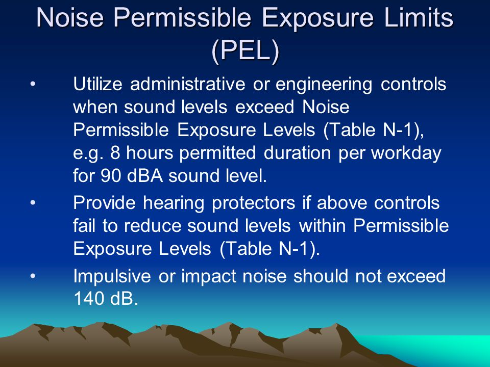 Noise Permissible Exposure Limits (PEL)