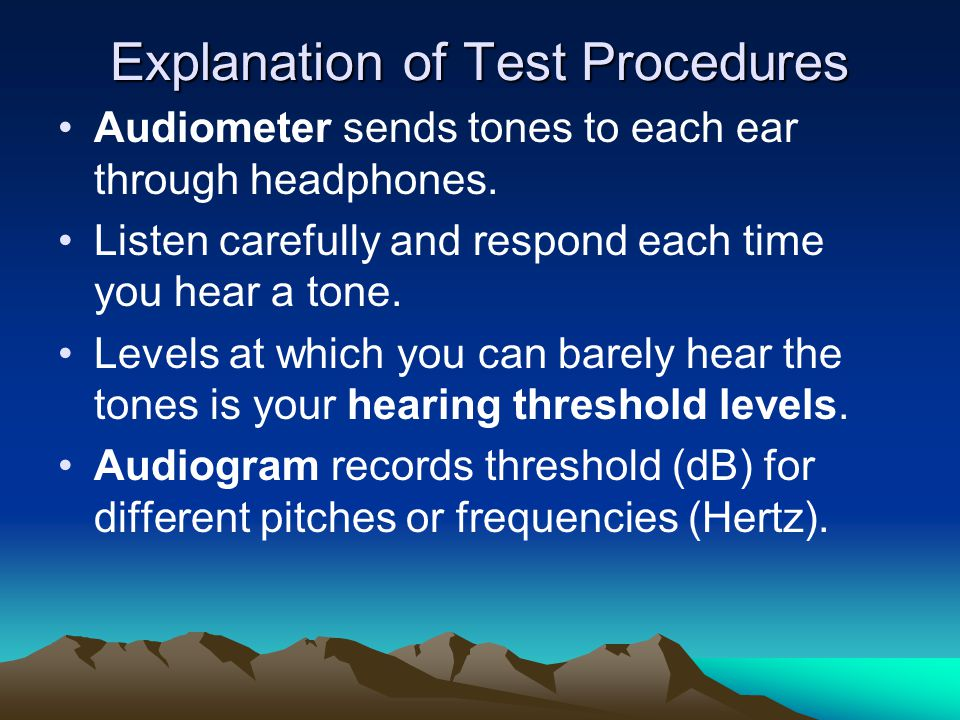 Explanation of Test Procedures