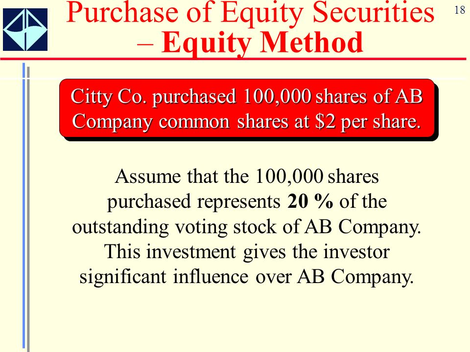 Purchase of Equity Securities – Equity Method