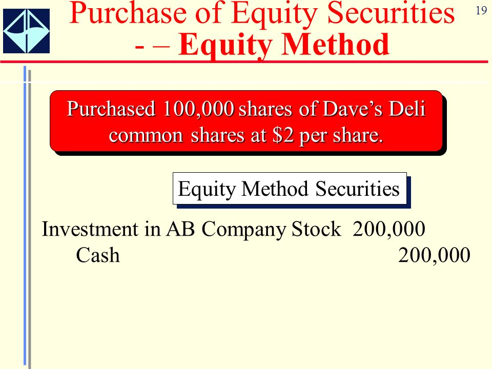 Purchase of Equity Securities - – Equity Method