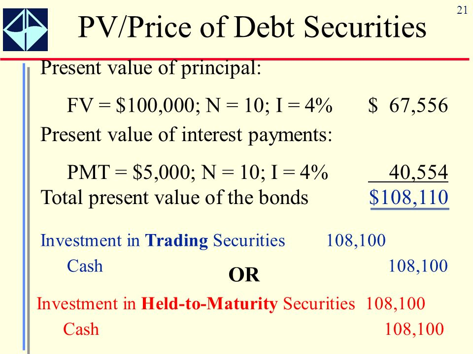 PV/Price of Debt Securities