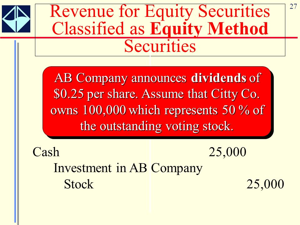 Revenue for Equity Securities Classified as Equity Method Securities