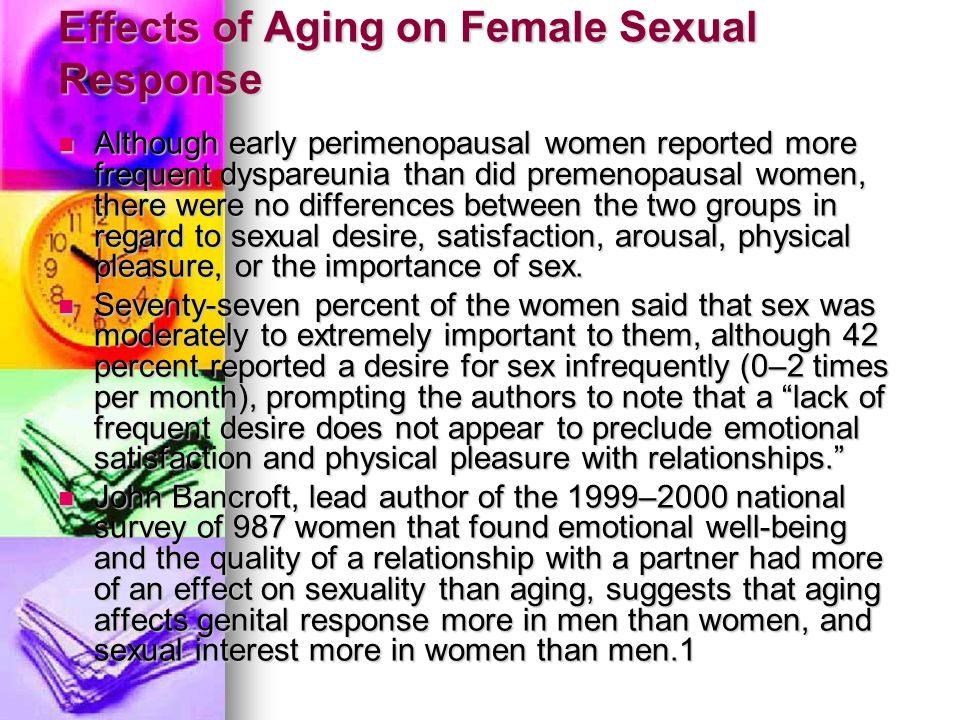 Effects of aging on sex