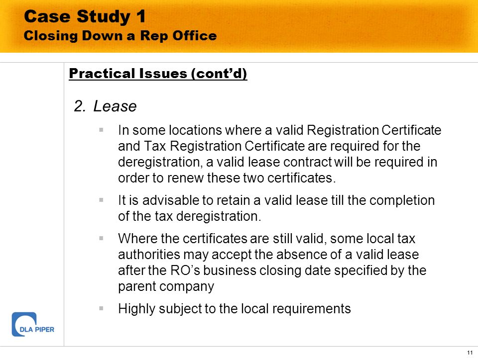 Case Study 1 Closing Down a Rep Office