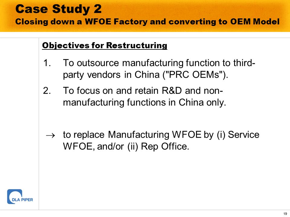 Case Study 2 Closing down a WFOE Factory and converting to OEM Model