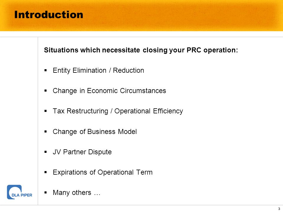 Introduction Situations which necessitate closing your PRC operation: