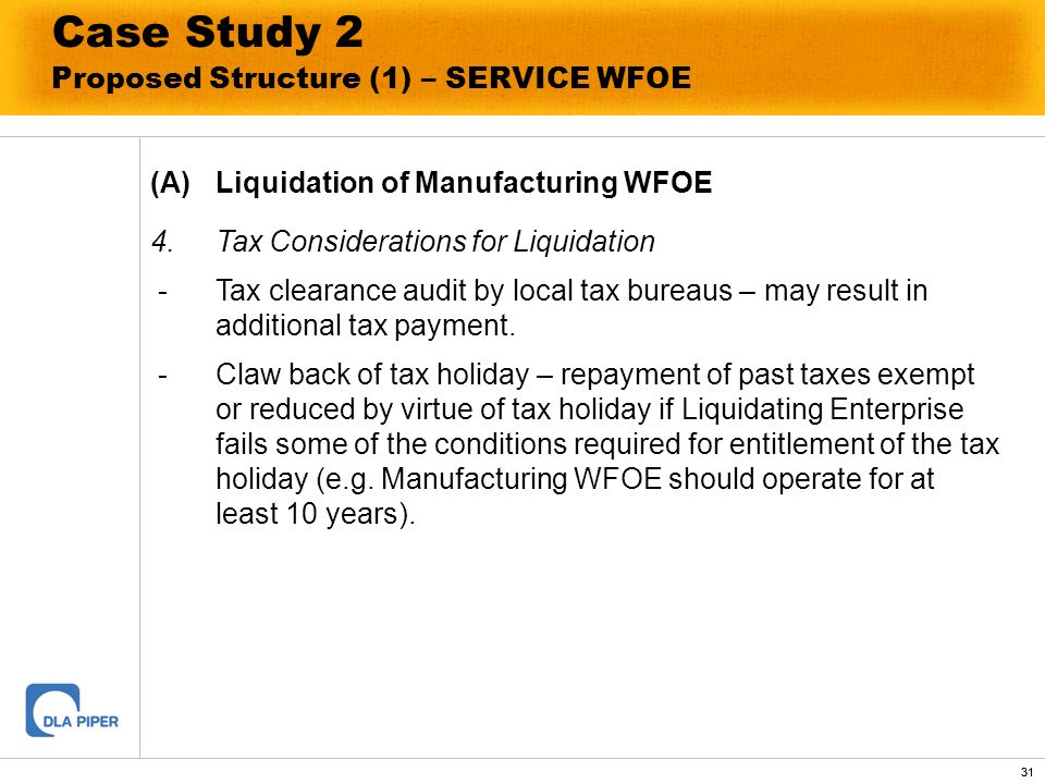 Case Study 2 Proposed Structure (1) – SERVICE WFOE