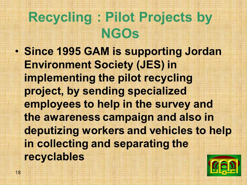 Recycling : Pilot Projects by NGOs