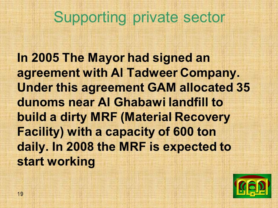 Supporting private sector