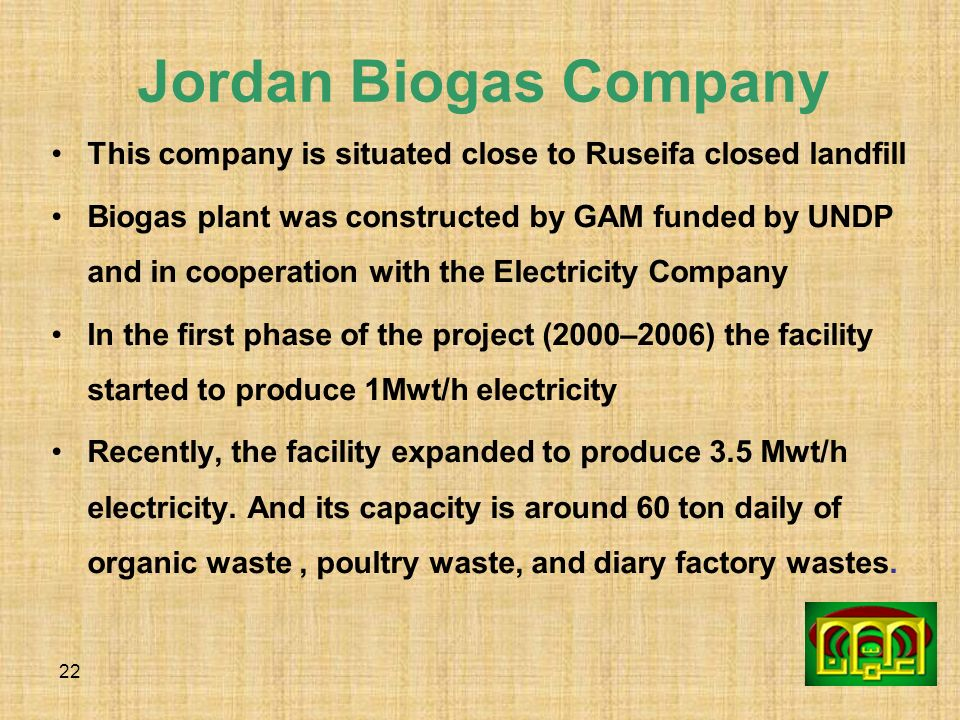 Jordan Biogas Company This company is situated close to Ruseifa closed landfill.