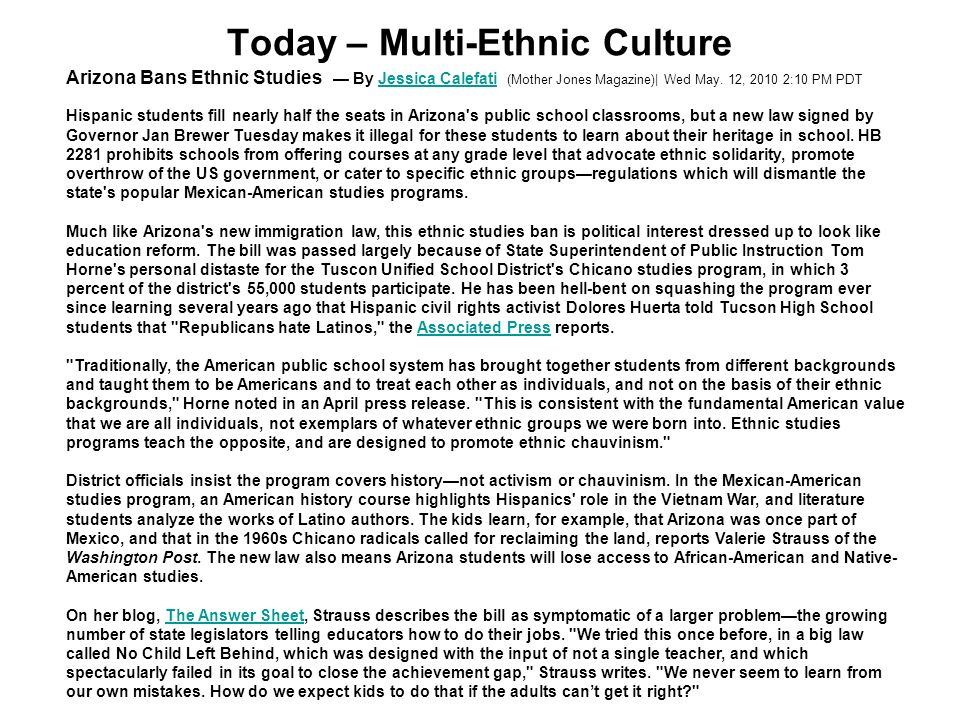 Today – Multi-Ethnic Culture