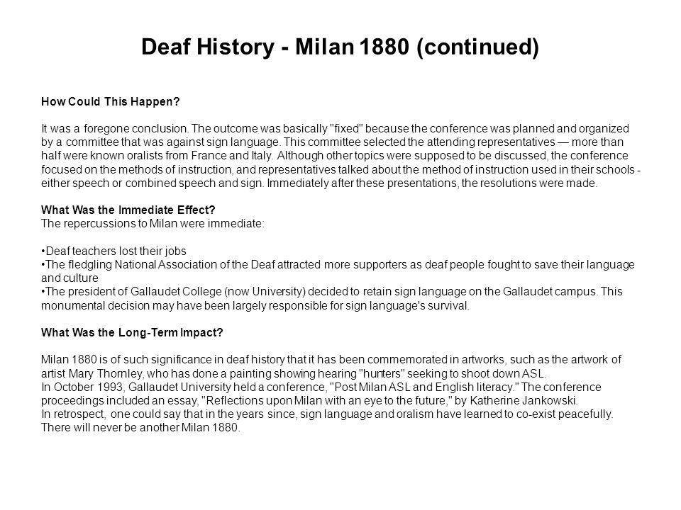 Deaf History - Milan 1880 (continued)