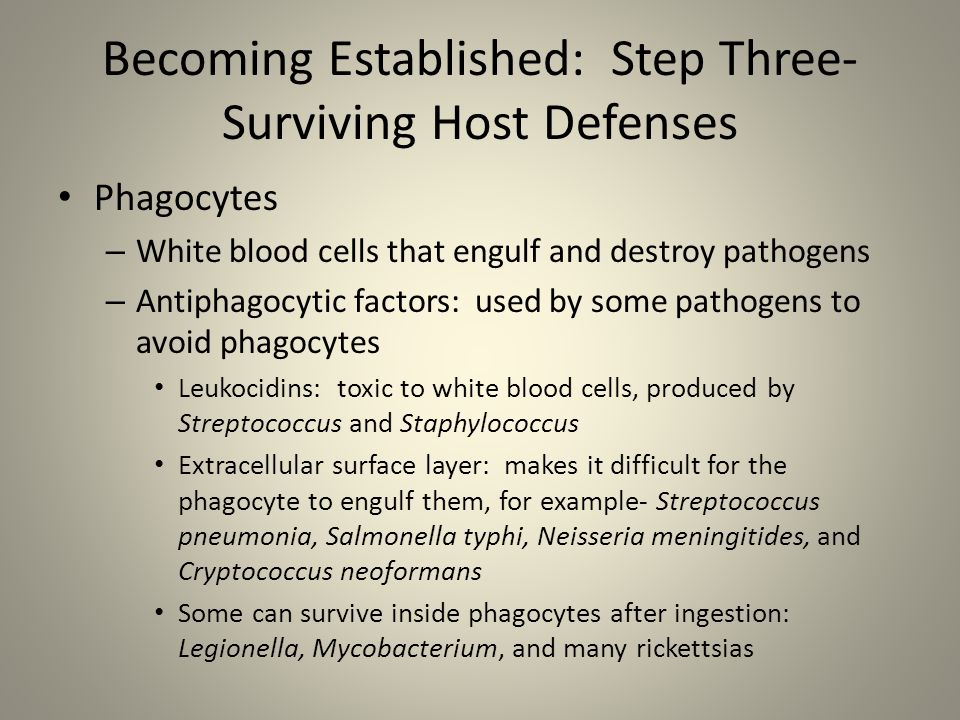 Becoming Established: Step Three- Surviving Host Defenses