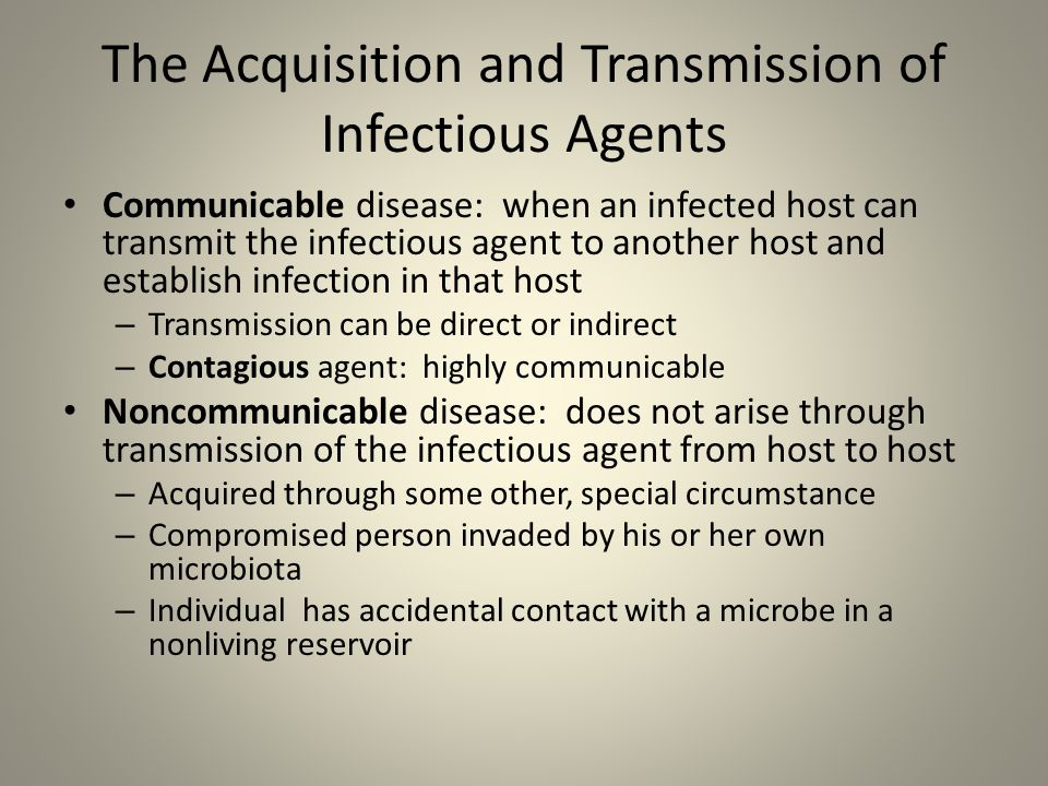 The Acquisition and Transmission of Infectious Agents