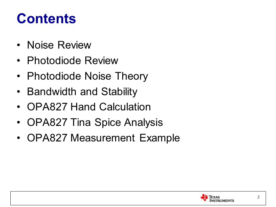 Contents Noise Review Photodiode Review Photodiode Noise Theory