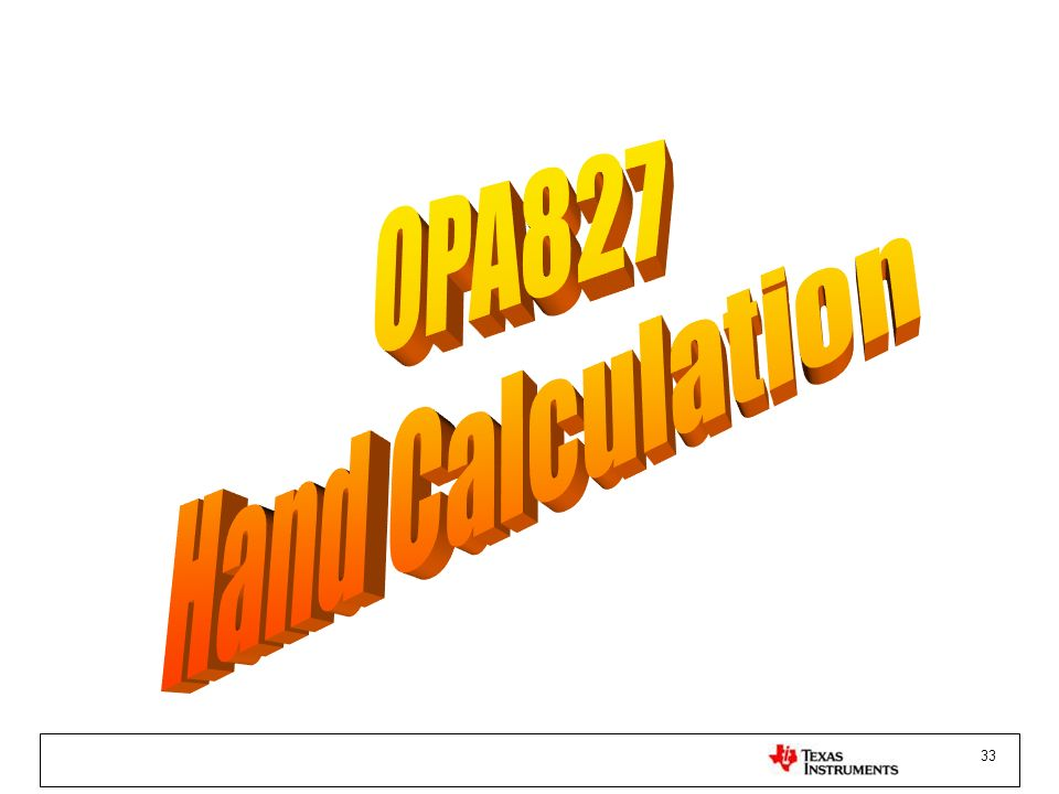 OPA827 Hand Calculation
