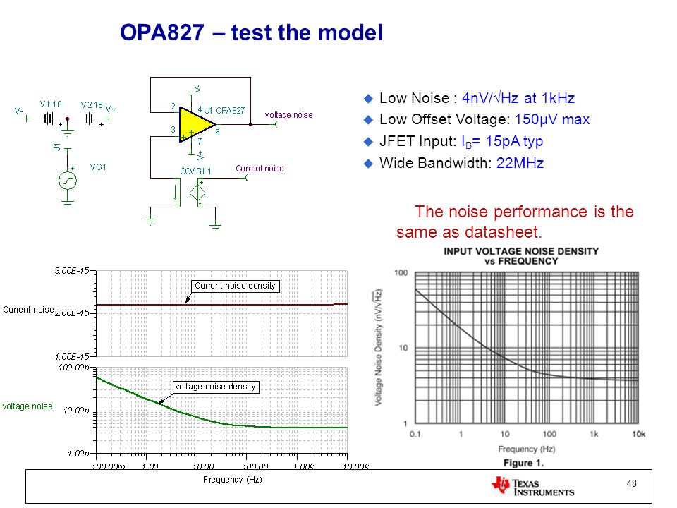 OPA827 – test the model Low Noise : 4nV/√Hz at 1kHz. Low Offset Voltage: 150µV max. JFET Input: IB= 15pA typ.