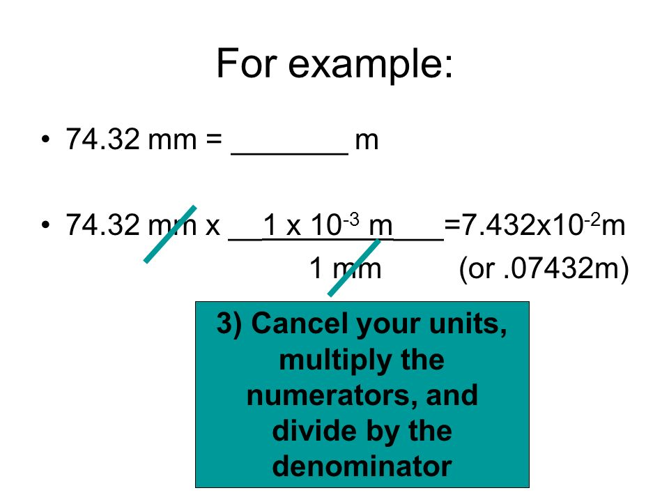 For example: 74.32 mm = _______ m