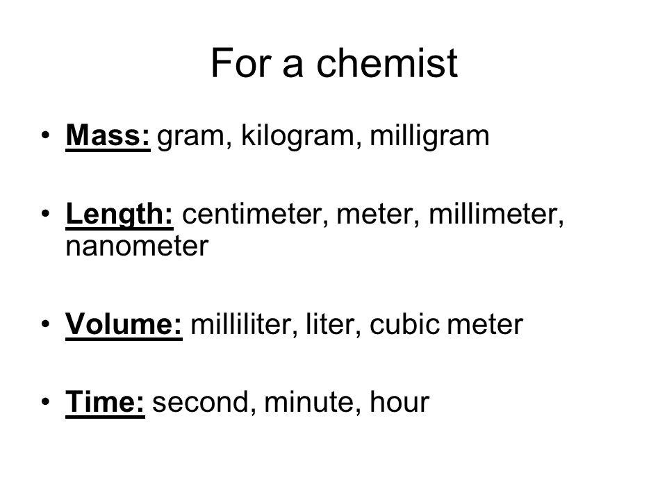 For a chemist Mass: gram, kilogram, milligram