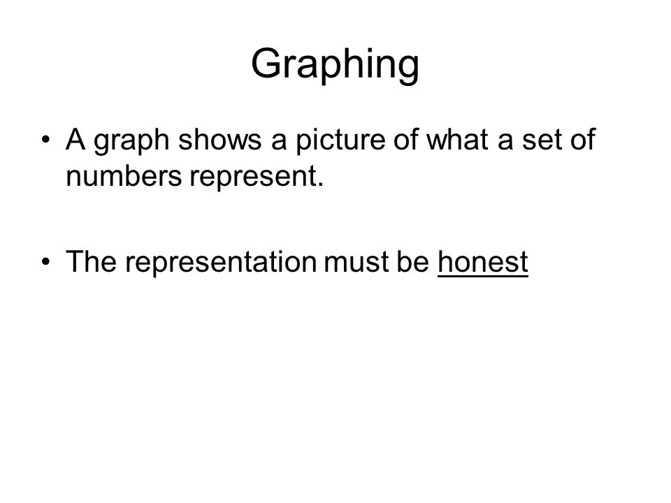 Graphing A graph shows a picture of what a set of numbers represent.