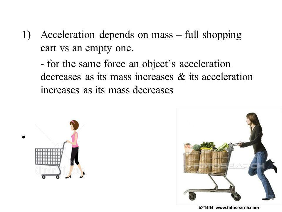 Acceleration depends on mass – full shopping cart vs an empty one.