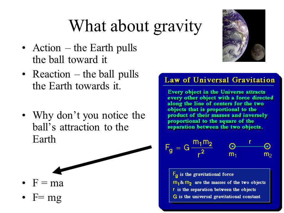 What about gravity Action – the Earth pulls the ball toward it