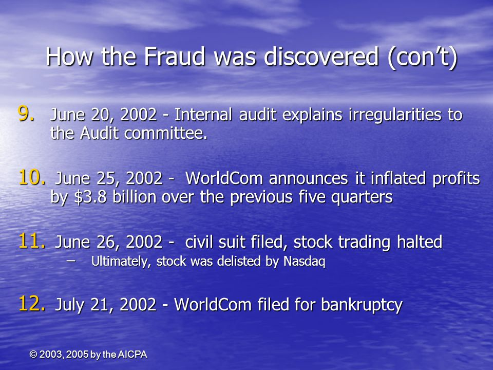 How the Fraud was discovered (con't)