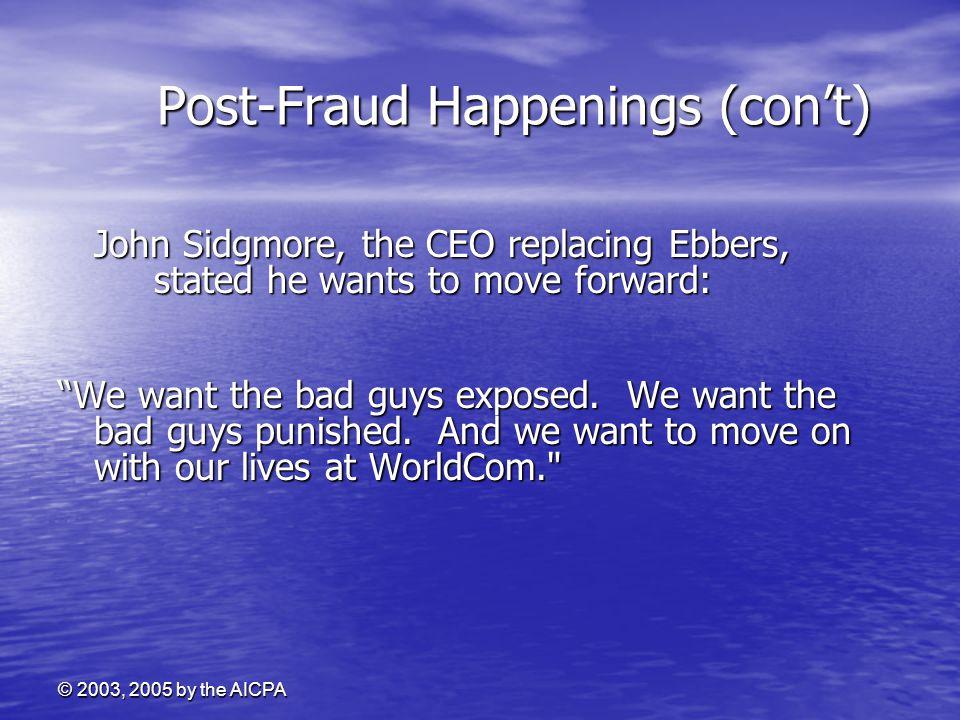Post-Fraud Happenings (con't)