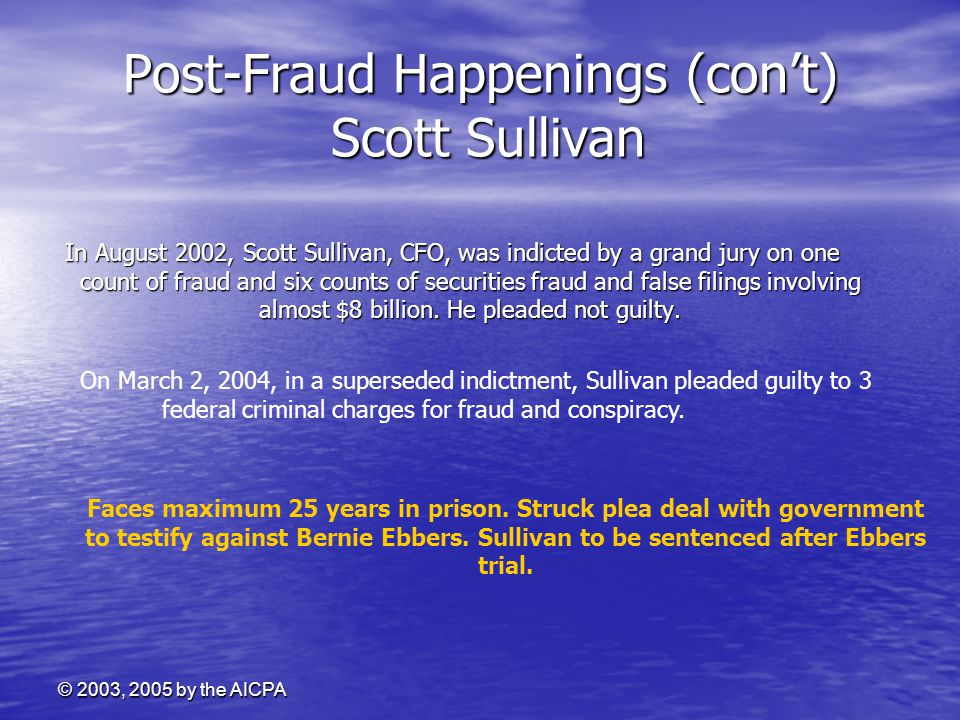 Post-Fraud Happenings (con't) Scott Sullivan