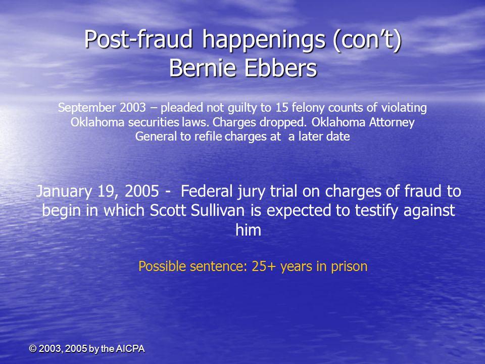 Post-fraud happenings (con't) Bernie Ebbers