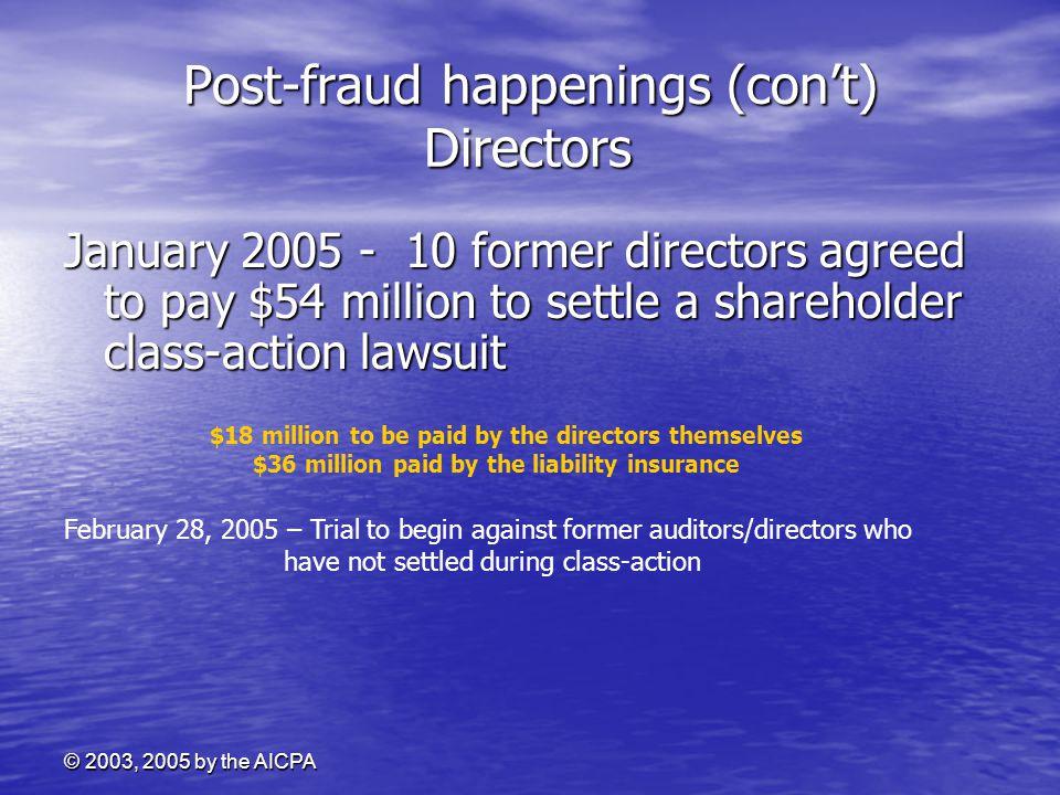 Post-fraud happenings (con't) Directors