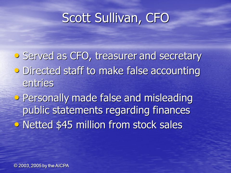 Scott Sullivan, CFO Served as CFO, treasurer and secretary