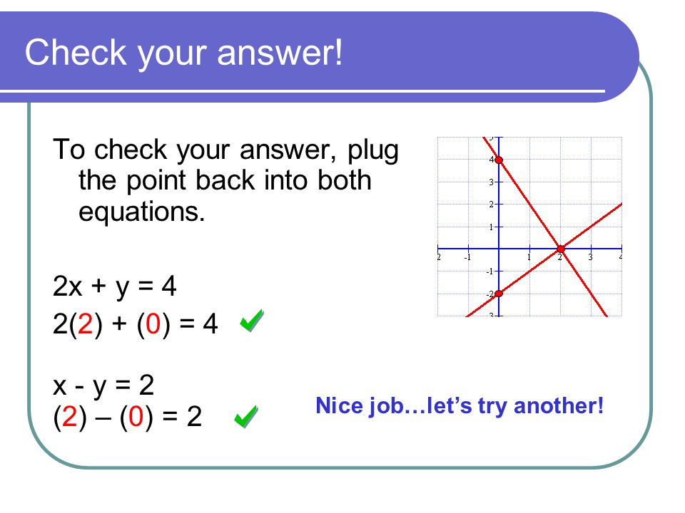 Check your answer! To check your answer, plug the point back into both equations. 2x + y = 4. 2(2) + (0) = 4.