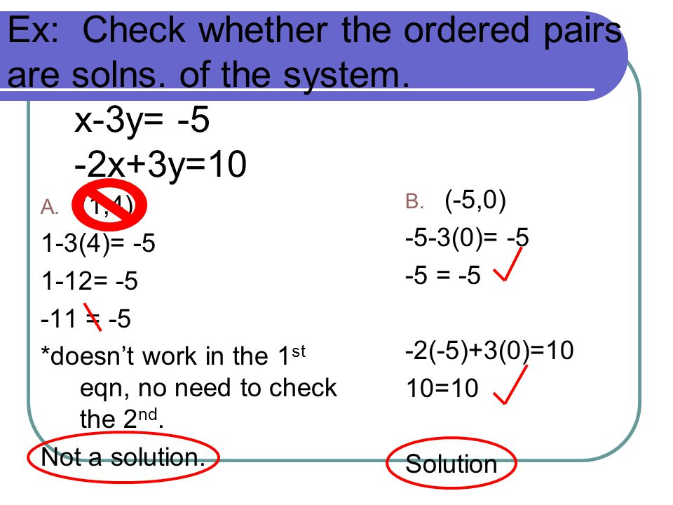 Ex: Check whether the ordered pairs are solns. of the system. x-3y= -5