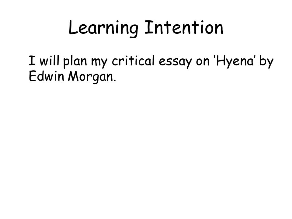 Learning Intention I will plan my critical essay on 'Hyena' by Edwin Morgan.