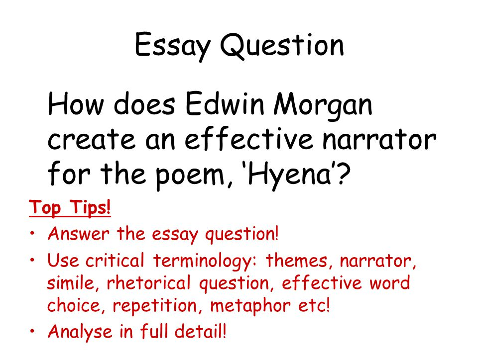 Essay Question How does Edwin Morgan create an effective narrator for the poem, 'Hyena' Top Tips!