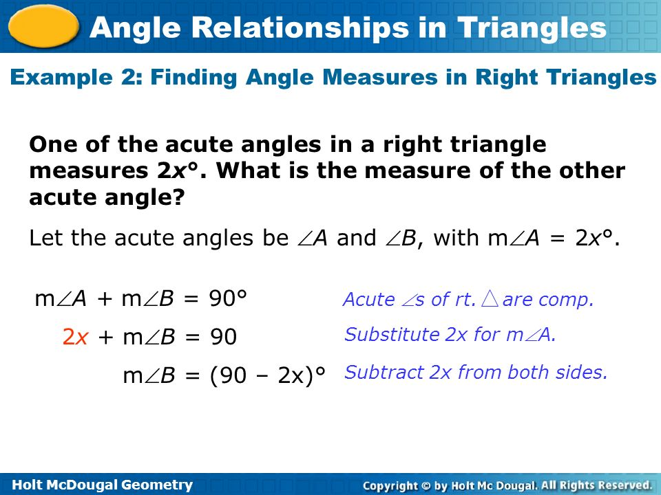 Example 2: Finding Angle Measures in Right Triangles