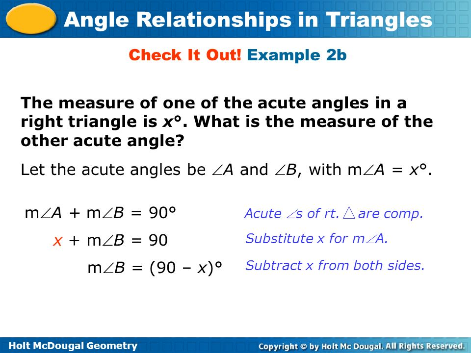 Let the acute angles be A and B, with mA = x°.