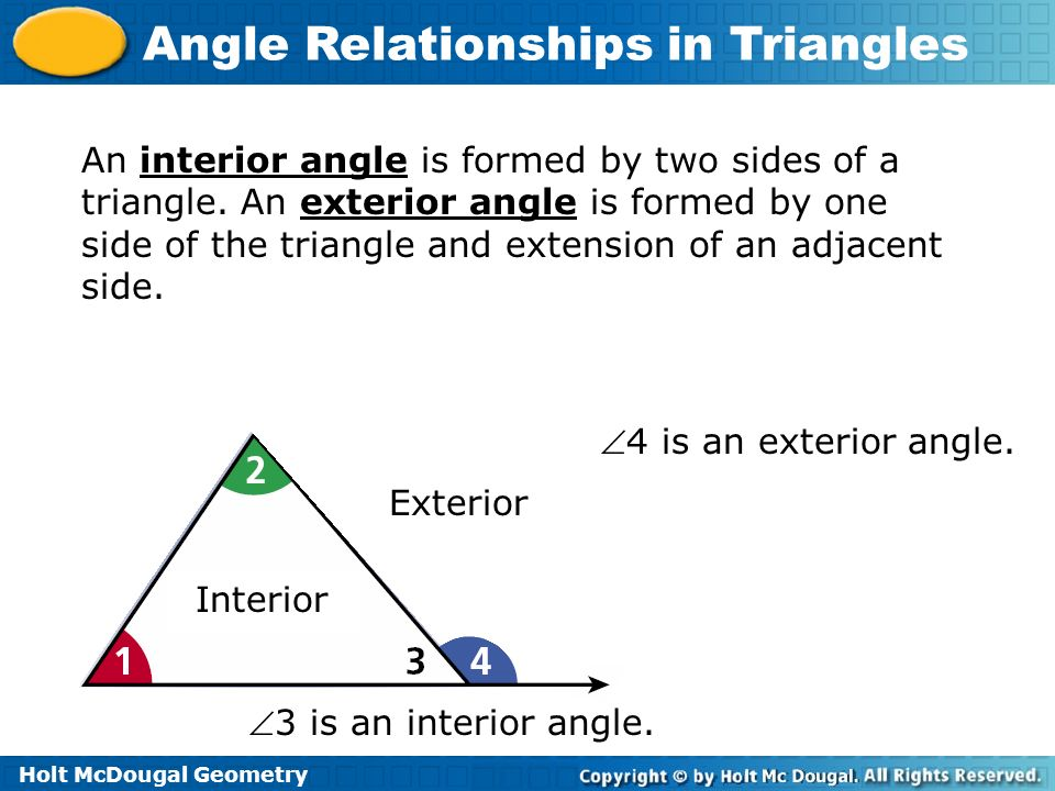 An interior angle is formed by two sides of a triangle