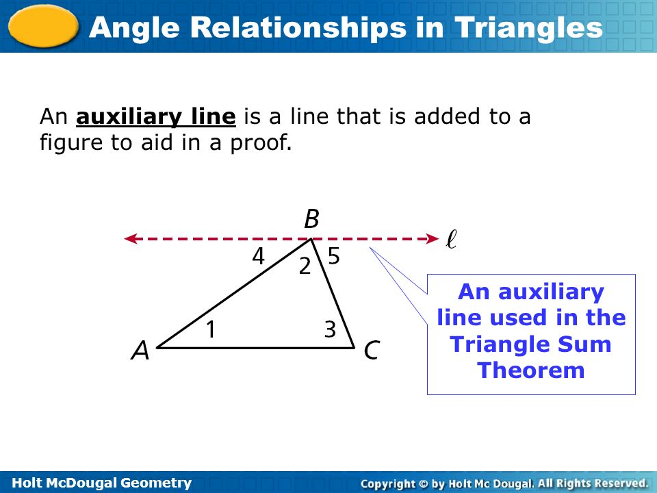 An auxiliary line used in the Triangle Sum Theorem