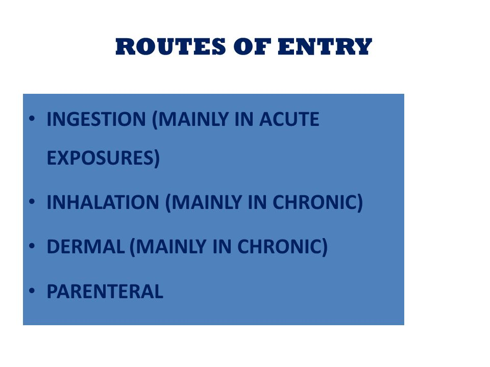 ROUTES OF ENTRY INGESTION (MAINLY IN ACUTE EXPOSURES)